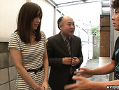Two kinky dudes enjoys shaving Japanese hairy pussy of Saki Aiba
