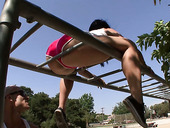 Sport chick in shorts Franchezca Valentina does exercises outdoor and gets her pussy fucked indoor