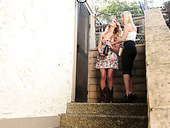 Attractive blond bitch Kenna James arranges a dirty lesbian orgy at home