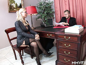 Sex-appeal secretary in stockings Helena Sweet makes her boss relaxing