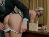 Cute blond babe Keira is fucked in her charming anal hole for the first time
