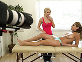 Chloe Amour and her lesbian girlfriend give interview after hot massage scene