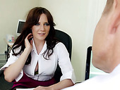 Mature hungry boss mouth fucks big boobed brunette strumpet in his office hard