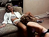 Classic whores Lee Caroll, Sharon Kane in strapon retro video