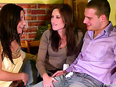 Two playful kinky brunette chicks piss their jeans and drink urine