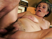 Sluttish granny gets her hairy stretched pussy drilled hard