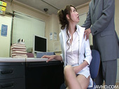 Pallid secretary Misato Sakurai lets her horny boss play with her nice tits