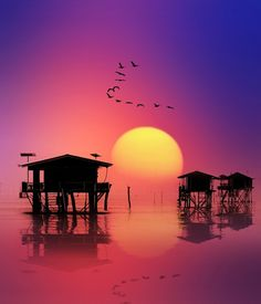 Sunset at Ban Laem, Thailand Showcase of Beautiful Photography Beautiful Sunset, Beautiful World, Beautiful Places, Places To See, Places To Travel, Amazing Sunsets, Ciel, Belle Photo, Silhouettes
