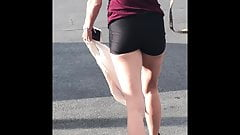 Lil Ms Flaunting Spandex Track Shorts Booty - Candid Ass