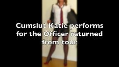 Katie whores for the returning Officer hero -