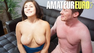 AMATEUREURO - Pigtailed Teen Gets Tight Pussy Stretched