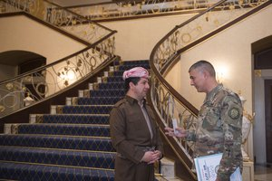 U.S. Army Lt. Gen. Stephen Townsend talks with Masrour Barzani, chancellor of the Kurdistan Regional Security Council, in Erbil, Iraq