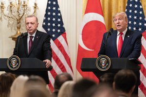 President Donald J. Trump participates in a joint press conference with Turkish President Recep Erdogan Wednesday, Nov. 13, 2019, in the East Room of the White House