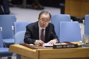 12 June 2019,Ban Ki-moon, former Secretary-General of the United Nations and Deputy Chair of The Elders, briefs the Security Council meeting on the maintenance of international peace and security, with a focus on conflict prevention and mediation