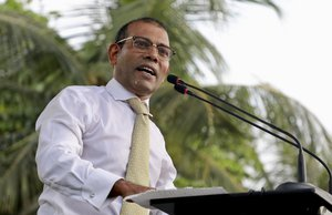 Maldives' former president Mohamed Nasheed, addresses the public in Male, Maldives, Thursday, Nov.1, 2018.