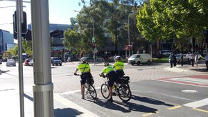 Bicycle police in Civic, Canberra, Australia