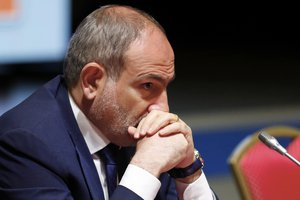 Armenian Prime Minister Nikol Pashinyan attends the Eurasian Economic Union Intergovernmental Council in Minsk, Belarus, Friday, July 17, 2020.