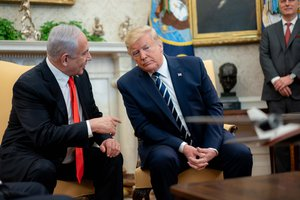 File - President Donald J. Trump, joined by Vice President Mike Pence, participates in a bilateral meeting with Israeli Prime Minister Benjamin Netanyahu Monday, Jan. 27, 2020, in the Oval Office of the White House