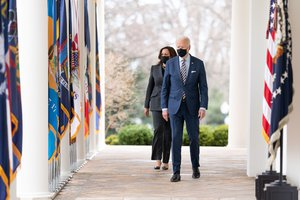 President Joe Biden and Vice President Kamala Harris walk from the Oval Office of the White House Friday, March 12, 2021, to the Rose Garden to deliver remarks on the American Rescue Plan.