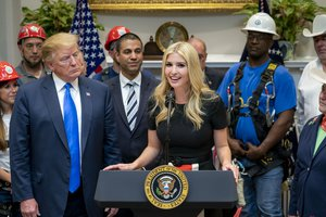 President Donald J. Trump listens as Presidential Advisor Ivanka Trump delivers remarks on U.S. 5G deployment technology Friday, April 12, 2019, in the Roosevelt Room at the White House.