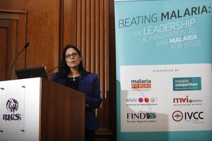 File - The RT Hon. Priti Patel MP speaks at the launch of the World Malaria Report 2016.