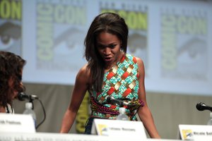 Nicole Beharie speaking at the 2014 San Diego Comic Con International, in San Diego, California