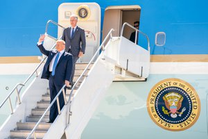 File - President Donald J. Trump, joined by newly named White House National Security Advisor Robert C. O'Brien, waves as he disembarks Air Force One at Marine Corps Air Station Miramar Wednesday, Sept. 18, 2019, in San Diego, Calif
