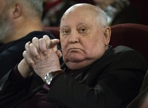 Former Soviet leader Mikhail Gorbachev attends the Moscow premier of a film made by Werner Herzog and British filmmaker Andre Singer based on their conversations, in Moscow, Russia, Thursday, Nov. 8, 2018.