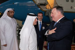 Secretary of State Michael R. Pompeo departs Doha, Qatar, on February 29, 2020