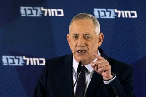 Blue and White party leader Benny Gantz delivers a statement in Tel Aviv, Israel