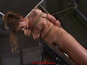 Amateur japanese slaves electro bdsm and extreme wooden rack suspension...