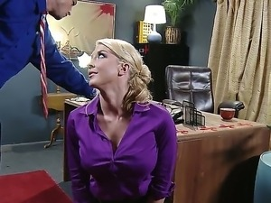 Handsome boss Bill Bailey gets seduced by smoking hot blonde secretary Leya...