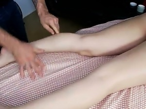 Brunette Sativa Rose recives hard massgae from horny hunk and something extra