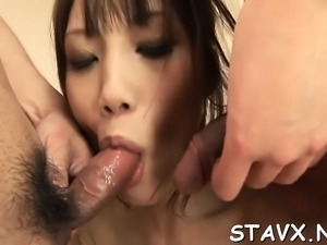 Cute oriental maid acquires uncouth cunt fingering